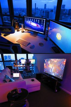 Having a best rigs for gaming setup is everyone's dream. This gamer's guide will show you best gaming setup, enjoy! Setup Desk, Pc Setup, Office Setup, Office Desk, Office Style, Gaming Room Setup, Computer Setup, Gaming Rooms, Gaming Desktops