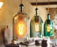 Glass bottle pendant lighting