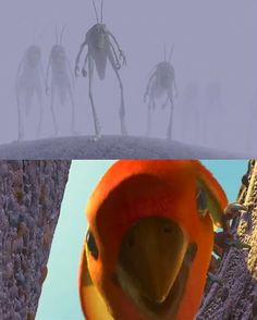 """in the end of """"a bugs life"""" when the bird snatches up hopper and feeds him to her chicks"""
