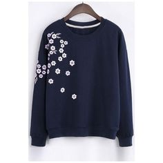 Fashion Floral Embroidery Round Neck Long Sleeve Sweatshirt (£26) ❤ liked on Polyvore featuring tops, hoodies, sweatshirts, long sweatshirt, long sleeve tops, long cotton tops, floral tops and long sleeve sweatshirt