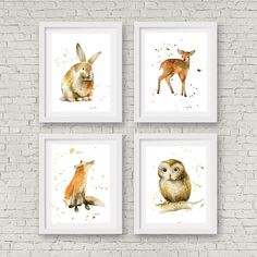Set of 4 Woodland animal watercolor prints. by TheDailyWatercolor