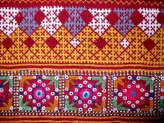 kutchwork Indian Embroidery, Hand Embroidery Designs, Embroidery Patterns, Chania Choli, Cultural Patterns, Kutch Work Designs, Neckline Designs, Herringbone Stitch, Indian Textiles