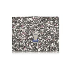 Found on OhLike: Proenza Schouler The Lunch Bag Large Jacquard and Leather Clutch