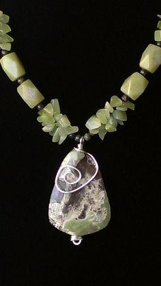 Jasper and New Jade Necklace, via Etsy. Wire Jewelry, Pendant Jewelry, Jewelry Crafts, Gemstone Jewelry, Beaded Jewelry, Jewelery, Jewelry Necklaces, Bracelets, Jade Necklace