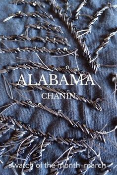 ALABAMA CHANIN swatch of the month-march March Swatch of the month: Beaded Fern Top layer-Blue Slate Backing layer-Blue Slate Stencil-Fern Textile paint-Pearl Slate Beads-Dark Grey Thread-Slate #imadethis #diy Sew a satin stitch through both fabric