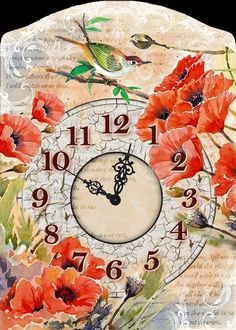 decoupage clock poppies http://artcreatorsall.blogspot.gr/p/blog-page_3.html