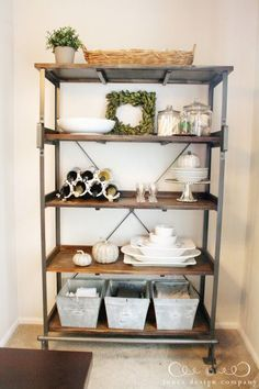 Floating Shelves in the Dining Room | Wine glass storage, Buffet ...