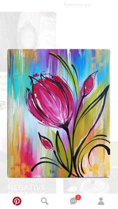 We host painting events at local bars and restaurants. Come join us for a Paint Nite Party! Simple Acrylic Paintings, Easy Paintings, Acrylic Art, Flower Paintings, Canvas Paintings, Painting Pictures, Colorful Paintings, Painting & Drawing, Watercolor Paintings