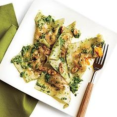 Butternut Squash Ravioli with Spinach Pesto uses supermarket wonton wrappers to create a shortcut weeknight ravioli treat.