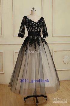 Black lace sleeve dress tea length mother of the ball gown: 6... + 18