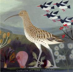 'Curlew at Yar Estuary' greeting card reproduced from an original painting by Sarah Young. Supplied with an off-white paper envelope. Published by Canns Down Press. Photography Illustration, Bird Illustration, Illustrations, Bird Quilt, Bird Artwork, Coastal Art, Naive Art, Sea Birds, Doodle Drawings