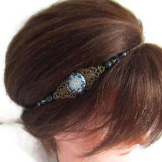 Headband bleu marine et bronze headband rétro headband