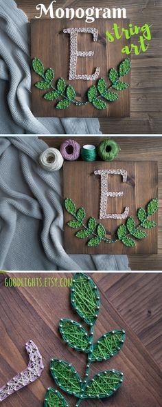 Monogram wall decor for modern and rustic interiors. Wood Monogram String Art gallery wall decor, personalized rustic wedding, bridal shower or baby shower gift, wooden Initial Sign.