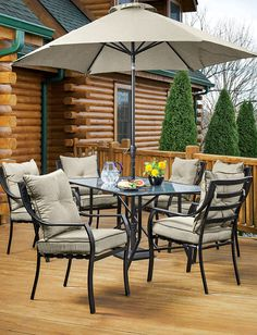 Classic comfort, modern looks, and lasting strength come together in the Lavallette 7-Piece Outdoor Dining Set. A tempered glass tabletop and tan seat cushions with piping lend style to the power-coated steel frames of the table and chairs (6). Umbrella sold separately. Online only. #shopko