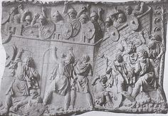 Roman soldiers defend a fort from a Dacian attack. Detail from Trajan's Column. Photo uploaded by Terraflorin in 2010 (Wikimedia) History Of Romania, European Tribes, Trajan's Column, Roman Soldiers, Ancient Rome, Ancient Civilizations, Roman Empire, Military History, Art History
