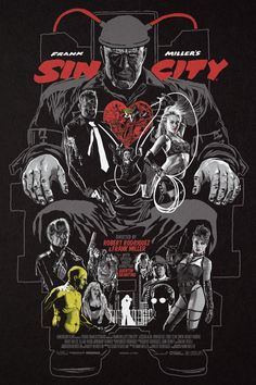 """Sin City by Christopher Cox 24"""" X 36"""" screen prints. Private commission, NFS."""