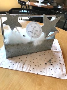 Galvanized star centerpiece from a Rustic Twinkle Star Gender Reveal Baby Shower on KARA'S PARTY IDEAS | KarasPartyIdeas.com (27)