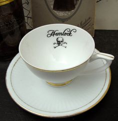 Poison tea cup and saucer Vintage altered plate Chase and Scout Hemlock Halloween Coffee Set, Coffee Cups, Tea Cups, Deco Table, A Table, Hm Deco, Indie, Grunge, Goth Home