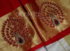 Designer blouse Bead and stone work on blouse piece - Pin Trends Peacock Blouse Designs, Kids Blouse Designs, Pattu Saree Blouse Designs, Simple Blouse Designs, Bridal Blouse Designs, Blouse Neck Designs, Hand Designs, Sleeve Designs, Hand Work Design