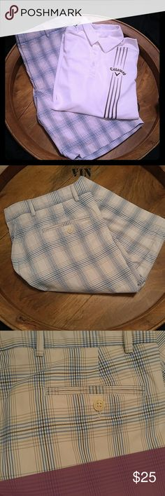 💥HOST PICK💥WALTER HAGEN WHITE W/BLUE PLAID SHORT THAMK YOU TO @flutter_buys FOR CHOOSING THIS ITEM AS ONE OF HER HOST PICKS FOR BEST IN MEN'S STYLE!  WALTER HAGEN WHITE W/BLUE & GREY PLAID SHORTS.  In like new condition. Size 38. WALTER HAGEN Shorts