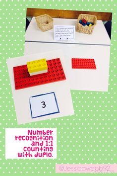 1:1 counting and understanding of more and less by building numbered towers using duplo.