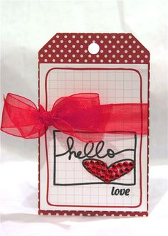 What a sweet tag by Ashley Harris! I love how she added the bling to the heart from the Hello by Ali Edwards stamp set.