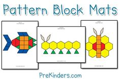 Pattern Block Shape Matching    I have lots of pattern block mats which you can print to use in your classroom. The black outlines are not as easy as the colored. I also have a pattern block book (see this page) with photos of different pattern block designs my students have made over the years. Children like to duplicate the patterns in the book.