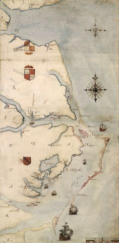 Lost Colony, Virginea Pars map, drawn by John White during his initial visit in 1585. Roanoke is the small pink island in the middle right of the map.