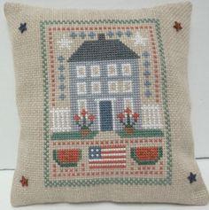 Americana Seasonal Home Cross Stitched Mini by luvinstitchin4u, $18.99