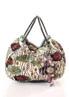 JAMIN-PUECH-White-Cloth-Beading-Design-Multi-Color-Brass-Tone-Clutch-Handbag
