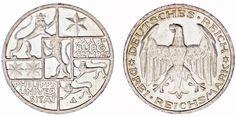3 REICHSMARK GERMANY/3 MARCOS ALEMANIA. Ag. PHILIPPS UNIVERSITY.1927 A. AU/SC-.