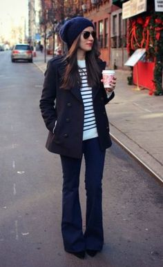 shut up, i love that shirt on you: {outfit from ESD} french navy. Lovely casual New York outfit for the win. Fall Winter Outfits, Autumn Winter Fashion, Winter Style, Winter Chic, Winter Wear, Mode Outfits, Casual Outfits, Flare Jeans Outfit, Jeans Flare