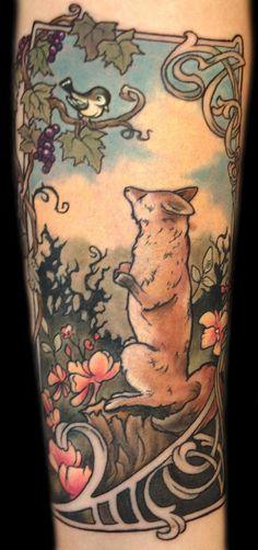 Mathew Clarke - art nouveau, Fox illustration tattoo