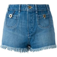 Chloé washed denim shorts (1.775 BRL) ❤ liked on Polyvore featuring shorts, bottoms, my clothes, pants, blue, denim shorts, short jean shorts, blue jean shorts, short shorts and chloe shorts