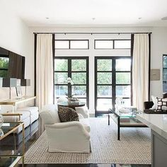 White and Brown Living Rooms, Transitional, Living Room