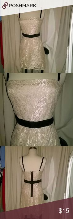 Cream lace dress Adorable lace and black dress. Whole dress is lined and detailed with black satin. In great condition!! love 21  Dresses Midi