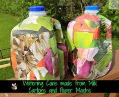 Make watering cans from milk cartons and paper mache - Nurture Her Nature