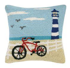 Beach Light Tower & Bike Hook Pillow
