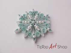 Quilling Snowflake Ornament for Your Christmas Decoration in White and Pale Blue; Gift Packaged by TipTopArtShop on Etsy
