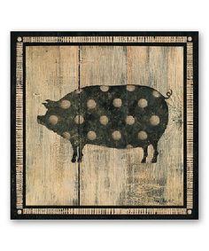 Another great find on #zulily! Black & Tan Polka Dot Pig Wall Art #zulilyfinds