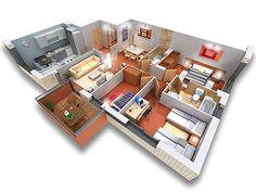 planos de casas pequenas en 3d de 2 plantas
