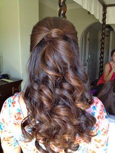 Holiday or wedding hair; half up half down hairstyle