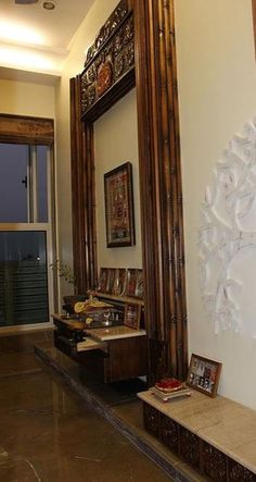 Living Room Designs Mandir Puja Room Ideas In Small Flats New Kitchen Interior, Room Interior Design, Ikea Small Apartment, Temple Room, Craft Room Tables, Mandir Design, Pooja Room Door Design, Traditional Dining Rooms, Puja Room