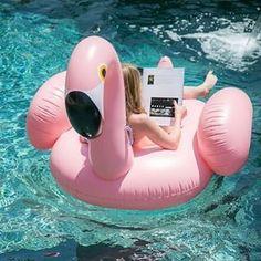 Image via We Heart It #blonde #flamingo #girl #hair #pool #summer