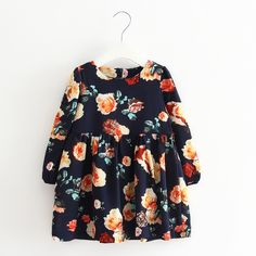Autumn Girl Kids Clothes Dresses 2016 Fashion Flower Kids Girl Clothes Dresses Autumn New Brand Kids Clothes Dress For Girl Baby