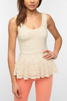 Urban outfitters Pins and Needles Daisy Lace Peplum Tank Top in White (IVORY)