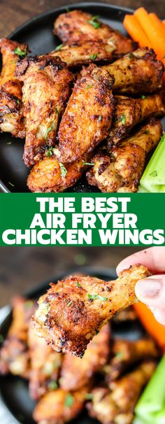 Air Fryer Chicken Wings are the best and crispiest wings ever! Done in less than 20 minutes, you'll never make wings another way again! Air Fryer Chicken Wings, Baked Chicken Wings, Chicken Wing Recipes, Air Fryer Wings, Chicken Wing Seasoning, Homemade Buffalo Sauce, Salads To Go, Air Fryer Recipes Easy, Main Dishes