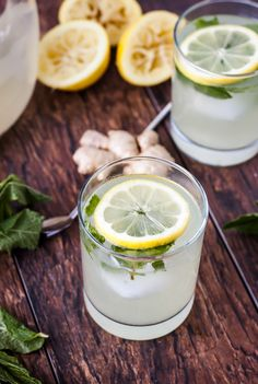 Mix up a batch of fresh mint ginger lemonade.
