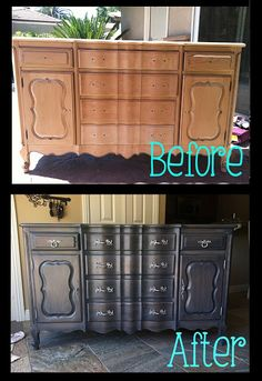 Step by Step tutorial on how to refurbish gray stain buffet table