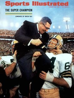 - NFL - Super Bowl II - The Green Bay Packers carry head coach Vince Lombardi off the field after their victory over the Oakland Raiders. It was the Packers second consecutive Super Bowl victory. Green Bay Packers Fans, Go Packers, Packers Football, Nfl Green Bay, Greenbay Packers, Football Memes, School Football, Football Cards, Packers Baby